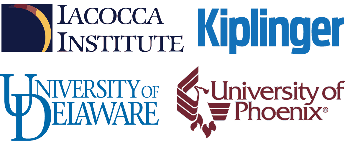 School logos: Iococca Institute, Kiplinger, University of Delaware, University of Phoenix